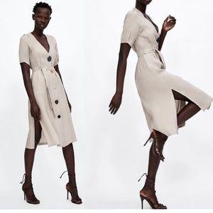 Zara Linen V-Neck Dress